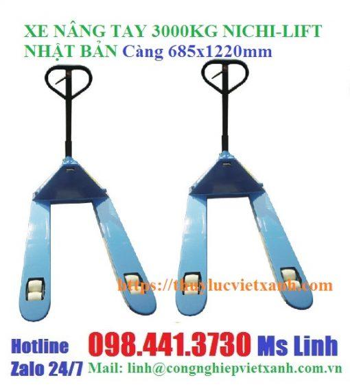 Xe nâng tay 3000kg Nichi-lift Nhật Bản ( 685x1220mm)