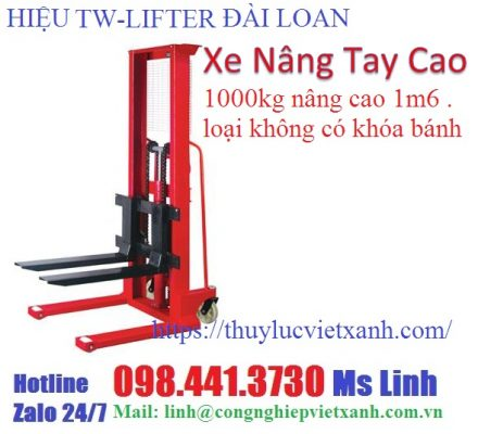 Xe nâng tay cao 1000kg nâng cao 1m6 loại không có khóa - hiệu tw-lifter Đài Loan