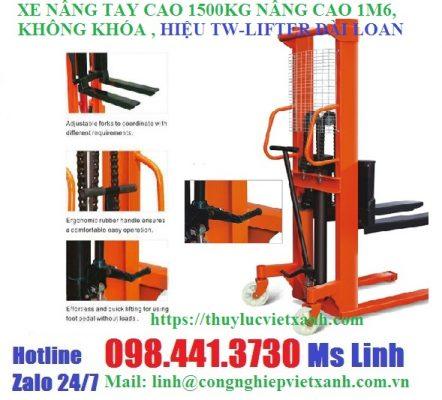 Xe nâng tay cao 1500kg nâng cao 1m6 khong khóa tw-lifter Đài Loan