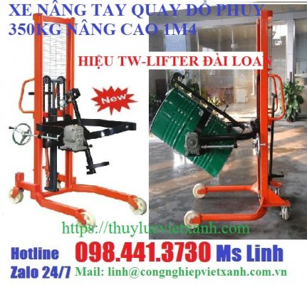 Xe nâng tay quay đổ phuy 350kg cao 1m4 hiệu TW-LIFTER Đài Loan