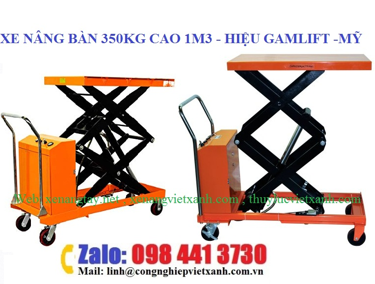 Xe nâng mặt bàn điện 350kg nâng cao 1m3
